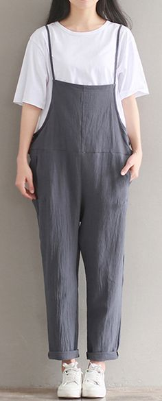 Casual Strap Sleeveless Pockets Baggy Simple Jumpsuits Overalls