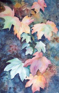Kathryn Wickson - Autumn - Artists & Illustrators - Original art for sale direct from the artist Watercolor Negative Painting, Watercolor Leaves, Watercolor Rose, Watercolor Paintings, Watercolours, Space Painting, Painting & Drawing, Negative Space Art, Deco Nature