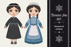 The girl in Orthodox Jews  dress. by Zoya Miller on @creativemarket