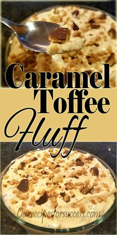 Looking for a quick and easy dessert for a potluck or luncheon? This caramel toffee fluff recipe is a perfect solution. It's sure to be a big hit. Fluff Desserts, Jello Desserts, Jello Salads, Dessert Salads, Dessert Recipes, Fruit Fluff Salad Recipe, Fluff Recipe, Easy Potluck Desserts, Great Desserts