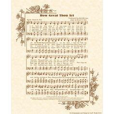 HOW GREAT THOU Art 8 x 10 Antique Hymn Art Print by VintageVerses