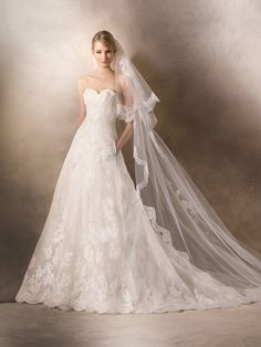 Marvellous Strapless A-line Sweetheart Neckline Lace Bridal Gown by La Sposa HOWARD with Side Pockets