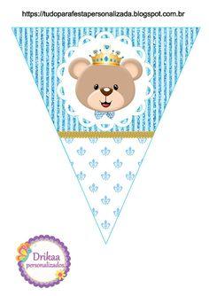 Minhas coisinhas festa personalizada: kit ursinho príncipe para imprimir gratis Baby Shower Oso, Baby Shower Clipart, Baby Shower Printables, Free Printables, Printable Party, Baby Shawer, 3rd Baby, Party Kit, Sprinkle Shower
