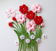 Crochet Applique -  Flowers and Leaves Set- Flowers In Meadows - Any Colour - Made to Order. $25.00, via Etsy.