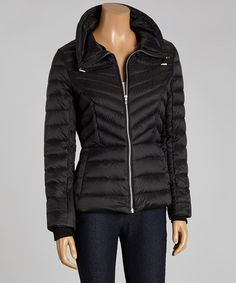 Black Packable Down Zip-Up Jacket by Black Rivet #zulily #zulilyfinds
