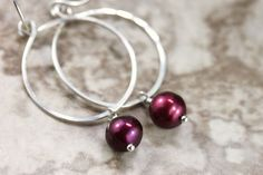 Hand Formed Maroon Burgundy Pearl and Argentium Sterling Silver Simple Circle Loop Earrings - Ella, by PrincessTingTing, $19.00