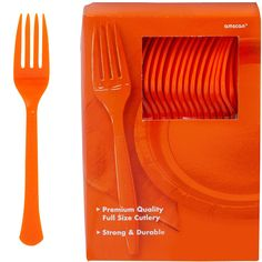 Big Party Pack Orange Premium Plastic Forks 20ct | Party City
