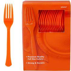 Big Party Pack Orange Premium Plastic Forks 20ct | Party City Big Party, Party Cups, Luau Party, Crepe Paper Streamers, Orange Party, Birthday Plate, Plastic Forks, Kids Party Supplies, Party Packs