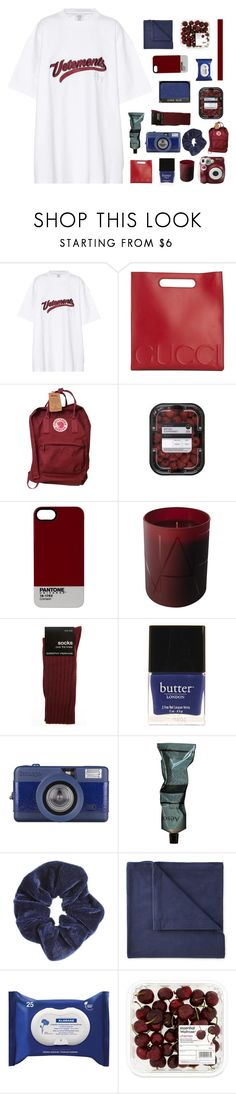 """""""testing tags"""" by midnight-shimmer ❤ liked on Polyvore featuring Vetements, Gucci, Fjällräven, Pantone, NARS Cosmetics, Dorothy Perkins, Polaroid, Butter London, Aesop and Miss Selfridge"""