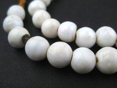 White Spherical Shell Beads (9mm)