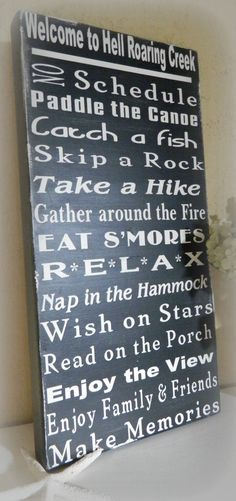 Lake rules sign subway style, handcrafted and painted, lake house decor, cabin was 50.00 NOW 40.00, $40.0