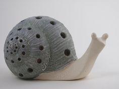 Giant Glazed Ceramic Snail Candle Holder. $25.00, via Etsy.