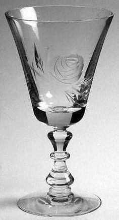 """Rose"" glass pattern with etched flower from Fostoria."