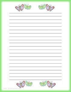 printable panda stationery and writing paper multiple versions puppy and butterfly printable kids stationery printable writing paper for kids regular lined writing paper