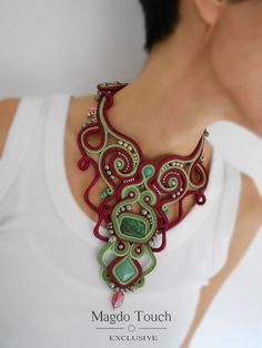 Red soutache necklace, statement vine necklace in burgundy and green with swirls, red collar necklac