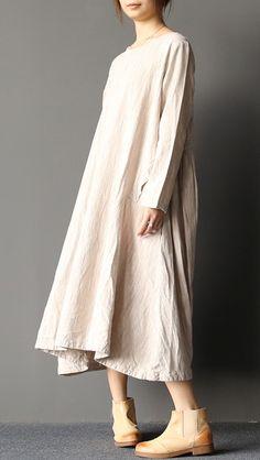 2017 spring nude oversize linen caftans plus size cotton dresses