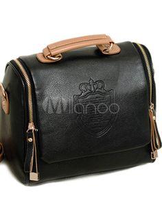 Elegant Black PU Leather Tote Bag For Women - Milanoo.com