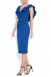 Midi crepe dress with open back .Subtle luxury details of the ruffles. Contemporary and elegant dress. Blue Dresses, Dresses For Work, Crepe Dress, Ruffles, Party Dress, Cold Shoulder Dress, Contemporary, Elegant, Clothes
