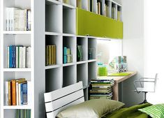 Contemporary home office furniture, White & lime green, Organization, Color coded, Bright, Storage, Open cabinets, Books.