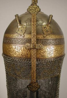 fishstickmonkey:  Helmet with Talismanic Inscriptions Object Name: Helmet Date: 18th century Geography: Iran Culture: Islamic Medium: Steel; damascened with gold Dimensions: H. 9 3/4 in. .(24.8 cm) Diam. 7 1/2 in. (19.1 cm) Classification: Arms and Armor Metropolitan Museum of Art