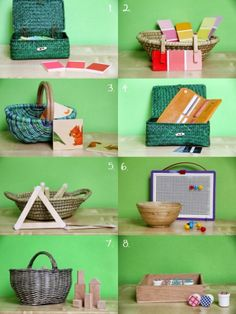 Montessori baskets and trays