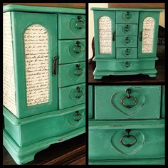 Custom order vintage jewelry box hand painted in custom Annie Sloan mix. Decoupaged in French Script. #vintagejewelrybox #jewelrybox #handpaintedjewelrybox #upcycledjewelrybox #customjewelrybox #restore #revive #recycle #chalkpaint #anniesloan