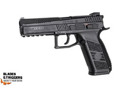 The CZ P-09 is a full-size tactical pistol with an integrated rail for mounting light and/or laser. Manufactured under license from CZ this airgun is designed from the original specs resulting in a realistic look and handling. Its blowback function makes the metal slide move with every shot fired, creating strong recoil, adding to the shooting experience. Tactical Pistol, Shots Fired, Hand Guns, Specs, Strong, Design, Firearms, Pistols