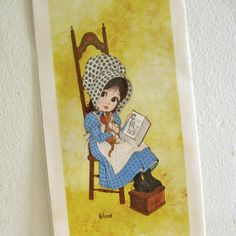 Vintage Litho Print Big Eyed Holly Hobbie style 1970's by ismoyo, $7.50