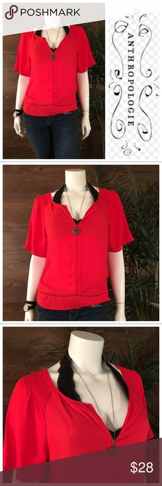 Ella Moss for Anthropologie Blouse Red blouse with v-neckline and half sleeves. Features cutout detail around bottom hem, shoulders, and down front. Anthropologie Tops Blouses