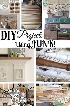 DIY junk projects!  A whole collection of junk projects.  Organize with junk, build with junk, decorate with junk.  Country Design Style