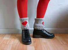 Heart Knit Boot Cuffs Stone Beige Red Knit Boot by fizzaccessory