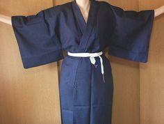 Kimono Style Robes for Men | Kimono Robe For Men Blue Understated Samurai Style by kimonoxl
