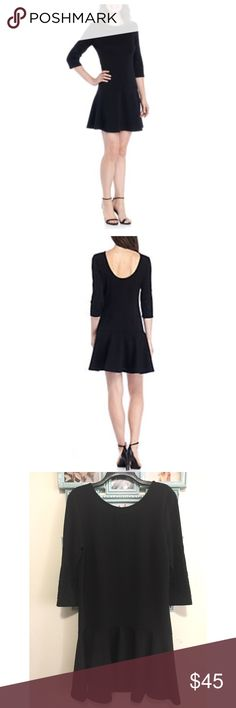 U Back drop waist dress. Description Detailed by a drop waist design, this flattering fit is one you'll love to flaunt! Bare your back brilliantly with its unique U-back design, ideal for demanding attention anywhere you go. You'll keep it confident and classy in this one-of-a-kind dress! Approximately 35-in. L Pullover Round neck Three-quarter set-in sleeves Machine washable Polyester/Spandex Madison Leigh Dresses