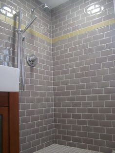 Shiny Grey Subway Tiled Shower Contemporary Yet Classic Richard Cable Interiors Designs