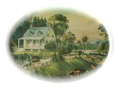 Vintage Currier And Ives Serving Tray American Homestead