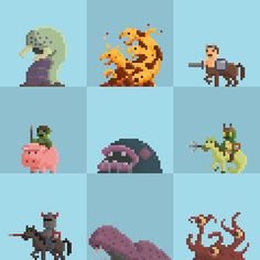 The middle creature popping out of the ground. Drool could be glass! Sprites, Bead Board Walls, Pixel Characters, 8 Bit Art, 8 Bits, Pixel Art Games, Pixel Design, Elements Of Art, Bead Art