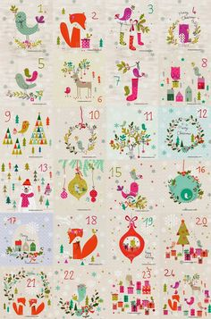Vintage Wallpaper Pink and Blue Kitchen on Wood Grain by Christmas Calendar, Noel Christmas, Christmas Countdown, Winter Christmas, Christmas Crafts, Wallpaper Pink And Blue, Advent Calenders, Christmas Printables, Christmas Inspiration