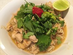 Thai chicken noodles with coconut broth, Made with my homemade red curry paste