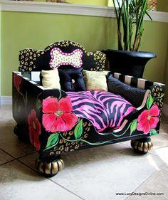 Hand Painted Luxury Designer Floral Animal Print Dog Bed