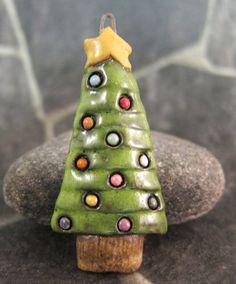 Xmas Tree...Pendant in Stoneware by elukka on Etsy, €15.00