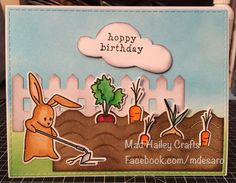 Hoppy Birthday card.  Used the Hero Arts my monthly hero kit from March.  Created the background by sponging on salty ocean and mowed lawn Tim Holtz Distress inks.  Used hickory smoke Distress ink on the fence and the cloud. Used vintage photo Distress ink on the garden patch. Stamped the bunny and veggies using Versafine black ink and colored with Zig clean color real brush markers and a waterbrush.  Cut the background with Scrapbook Outlet Gina marie designs stitched rectangle dies.