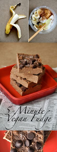 5-minute #vegan fudge (Coconut, Cocoa powder, Peanut butter, Banana) - no cooking – More at http://www.GlobeTransformer.org