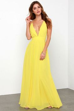 Like a sun drop, the Crossing Spaghetti Straps Elegant Chiffon Maxi Dress is made of nothing but happiness! Bright yellow chiffon shapes a pleated, low V neckline with adjustable spaghetti straps that Backless Maxi Dresses, Sexy Maxi Dress, Chiffon Maxi Dress, Beach Dresses, Sexy Dresses, Evening Dresses, Summer Dresses, Prom Dresses, Long Dresses