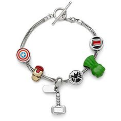 These Marvel Avengers and Guardians of the Galaxy charm bracelets look absolutely fantastic! Buy the whole bracelets or just some beads separately to create your own personalized version. [Avengers & Guardians of the Galaxy Charm Bracelets Marvel Dc, Marvel Heroes, Super Hero Shirts, Marvel Clothes, Avengers Clothes, Geek Decor, Guardians Of The Galaxy, Marvel Universe, At Least