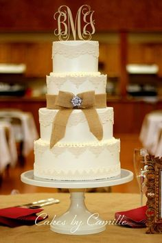 Rustic wedding cake, burlap wedding cake, barn wedding cake, monogram wooden cake topper, Cakes by Camille, lace wedding cake, crystal brooch cake