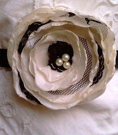 Items similar to Wedding Sash Ivory and Vintage Black Lace - Annabel on Etsy Felt Flowers, Diy Flowers, Vintage Flowers, Crochet Flowers, Fabric Flowers, Paper Flowers, Flower Ideas, Wedding Flowers, Burlap Wedding Favors