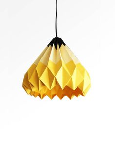 Pencil Origami Paper Lamp Shade Yellow // folds create interest #productdesign #lightingdesign