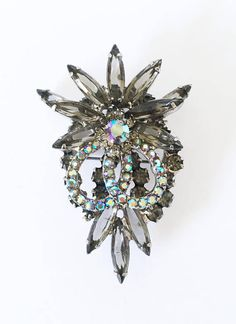 DeLizza & Elster Smoke Navettes and Aurora Borealis Rhinestone Statement Piece Brooch, Vintage 1950s Classic Juliana Jewelry, Large Rhinestone Brooch, Juliana Brooch, Juliana Rhinestone Pin, Brides Wedding Day Jewelry, Bridal Bouquet Brooch, Offered by MimisJewelryBoutique  An