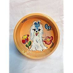 "Maltese 8"" Ceramic Dog Bowl for Food or Water. Personalized at no Charge. Signed by Artist, Debby Carman."