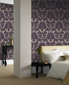 Majestic Purple Damask Wallpaper